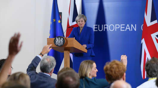 British Prime Minister Theresa May holds a press conference within the session of the European Council over Brexit, on November 25, 2018 in Brussels.