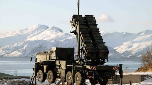 In this handout image provided by the German Bundeswehr armed forces a patriot missile Raytheon MIN-104 is seen during the Battle Griffin 2005 excersise on February 25, 2005 in Bodo, Norway.