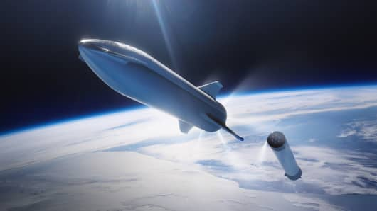 A rendering of SpaceX's Big Falcon Rocket (BFR).