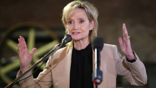Sen. Cindy Hyde-Smith speaks during a campaign event in Meridian, Mississippi,  November 25, 2018.