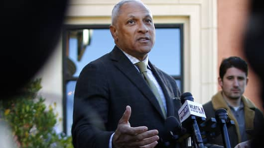 Senate candidate Mike Espy takes an interview with media during a news conference in Jackson, Mississippi, November 26, 2018.