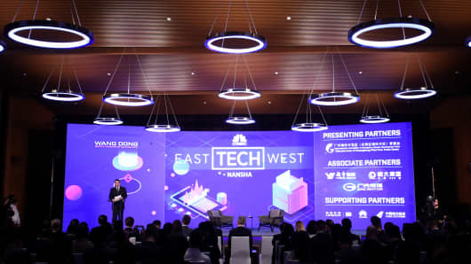 CNBC Presents East Tech West - Day 1 NANSHA, CHINA - NOVEMBER 27: Wang Dong, Deputy Mayor of Guangzhou, speaks during Day 1 of CNBC East Tech West at LN Garden Hotel Nansha Guangzhou on November 27, 2018 in Nansha, Guangzhou, China. (Photo by Dave Zhong/Getty Images for CNBC International)