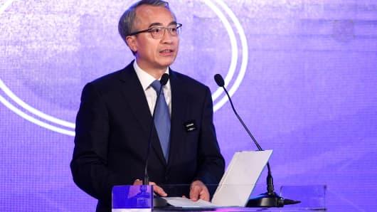 Cai Chaolin, party secretary of CPC Nansha Committee, speaks at CNBC East Tech West at LN Garden Hotel in Nansha, Guangzhou on November 27, 2018.