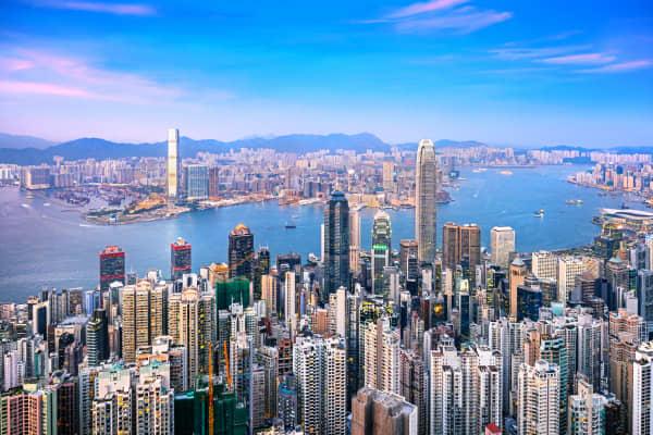 View of the Hong Kong skyline from Hong Kong Island