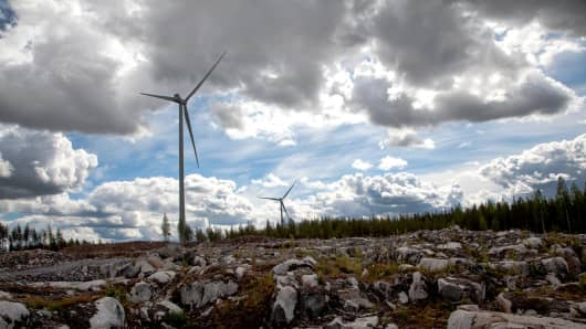 This image shows Vestas' V126-3.3MW turbines at a site in Finland.
