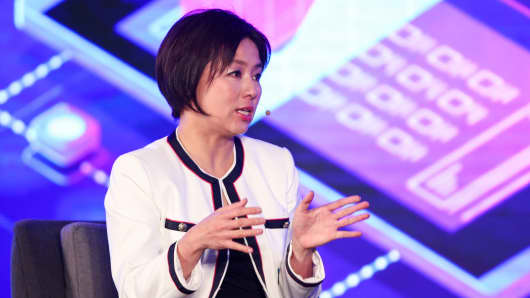 Edith Yeung, Head of Greater China & Partner of 500 Startups China, speaks during Fireside Chat on Day 1 of CNBC East Tech West at LN Garden Hotel Nansha Guangzhou on November 27, 2018 in Nansha, Guangzhou, China.