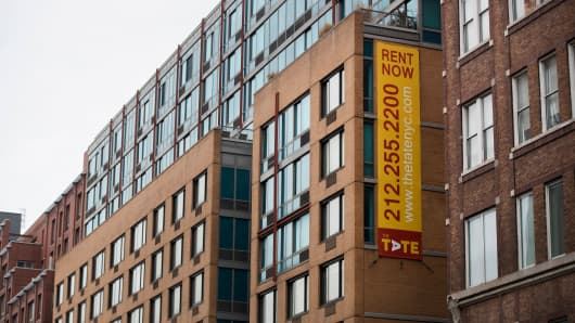 A view of an apartment building in the Chelsea neighborhood of Manhattan, New York City.
