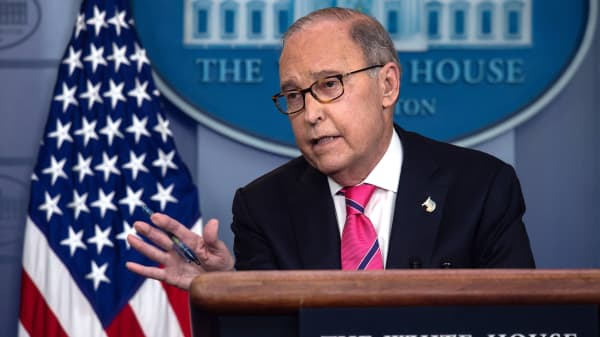 Director of the National Economic Council Larry Kudlow speaks at a press briefing at the White House in Washington, DC, on November 27, 2018.