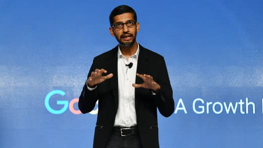 Sundar Pichai, chief executive officer of Google Inc., speaks during a news conference in New Delhi, India, on Wednesday, Jan. 4, 2017.