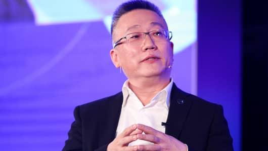 Freeman H. Shen, Founder, Chairman & CEO of WM Motor, speaks during Fireside Chat on Day 2 of CNBC East Tech West at LN Garden Hotel Nansha Guangzhou on November 28, 2018 in Nansha, Guangzhou, China.