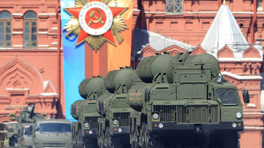 S-400 Triumf surface-to-air missile launchers are seen during the Victory Day military parade in Moscow, Russia on May 09, 2018.