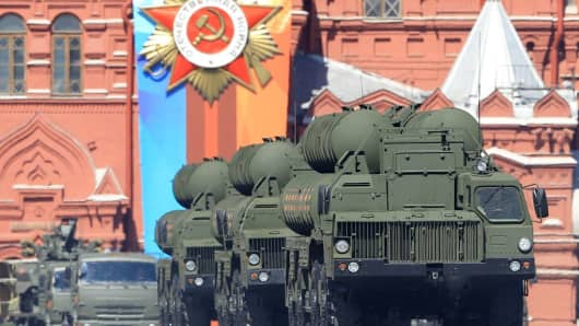 S-400 Triumf surface-to-air missile launchers are seen during the Victory Day military parade marking the 73rd anniversary of the victory over Nazi Germany in the 1941-1945 Great Patriotic War, the Eastern Front of World War II, in Moscow, Russia on May 09, 2018