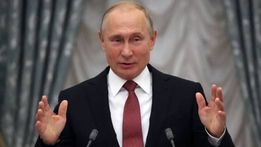 Russian President Vladimir Putin speaks during the State Awards Ceremony at the Kremlin on November 27, 2018 in Moscow, Russia. According to the Kremlin, Putin is planning to meet with U.S. President Donald Trump at the G20 Summit in Argentina at the end of this week.