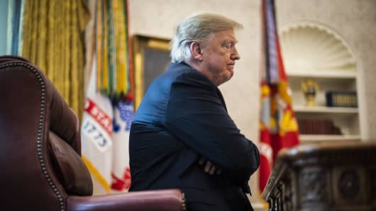 President Donald J. Trump speaks during an interview with Washington Post reporters Philip Rucker and Josh Dawsey in the Oval Office at the White House on Tuesday, Nov. 27, 2018 in Washington, DC.
