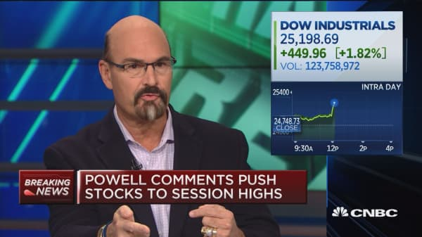 Market surges on Fed chair Powell's comments