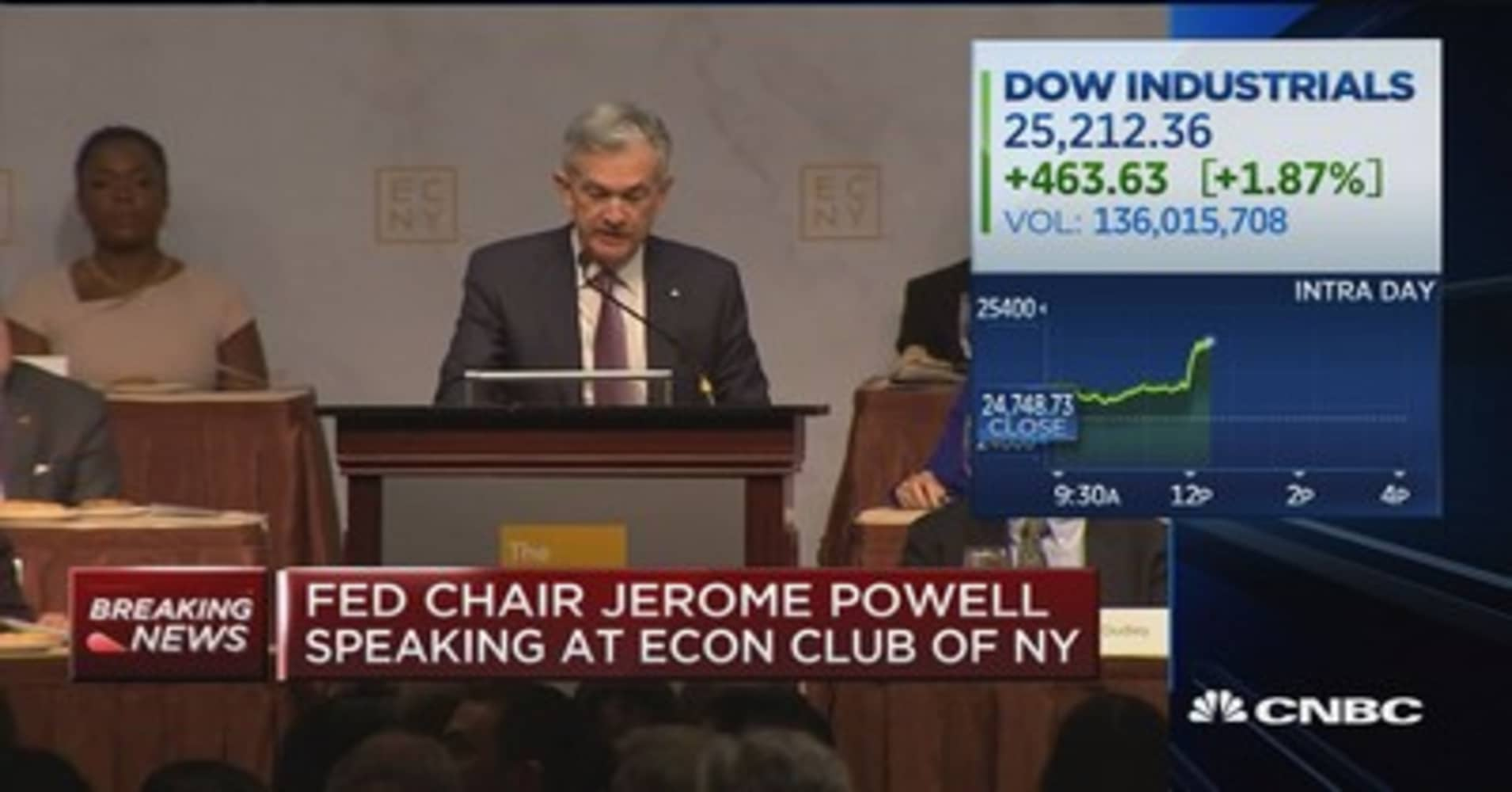 Fed Chairman Powell now sees current interest rate level 'just below' neutral