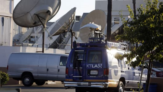 A live broadcast truck for KTLA Channel 5 TV, owned by Tribune Co, is seen in Los Angeles, California, July 23, 2013.