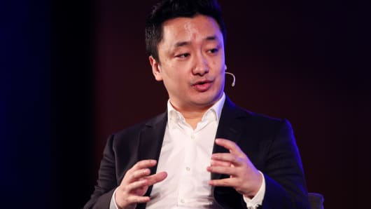 Vince Zhang, President of Phoenix Finance, speaks during Fireside Chat on Day 3 of CNBC East Tech West on November 29, 2018 in Nansha, Guangzhou, China.