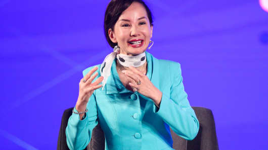 Jane Sun, CEO of CTrip, speaks during Fireside Chat on Day 3 of CNBC East Tech West at LN Garden Hotel Nansha Guangzhou.