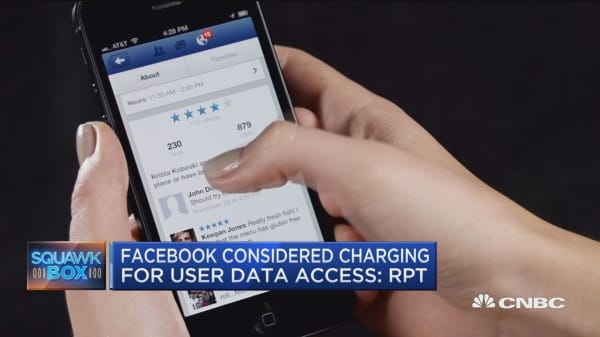 Facebook considered charging for user data access: WSJ
