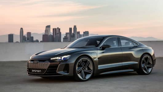Audi e-tron GT Concept car unveiled in Los Angeles on November 28, 2018.