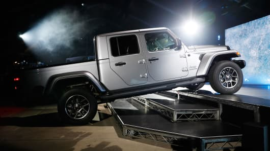 The 2020 Jeep Gladiator is introduced during a Jeep press conference at the Los Angeles Auto Show in Los Angeles, California, November 28, 2018.