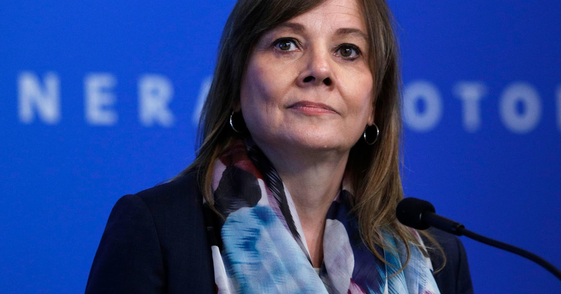 General Motors CEO Mary Barra speaks to the news media June12, 2018 in Detroit, Michigan.