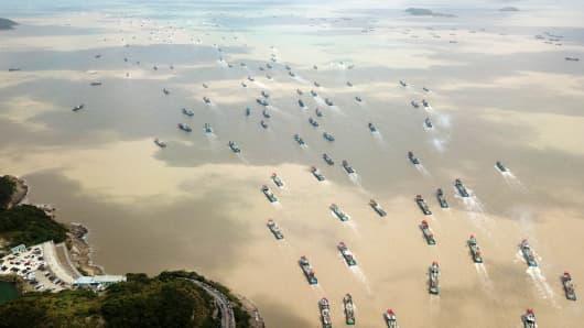 Fishing boats at Shibu fishing port on September 16, 2018 in Ningbo, Zhejiang province of China.