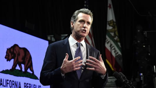 Gavin Newsom speaks during election night event on November 6, 2018 in Los Angeles, California.