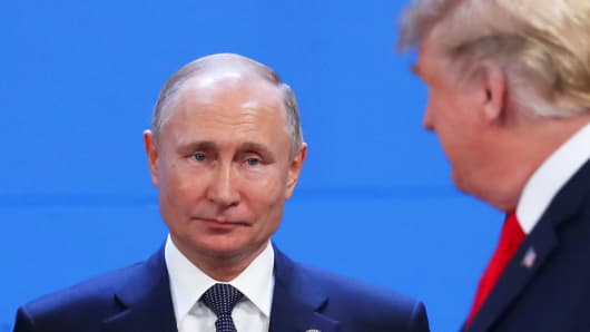 U.S. President Donald Trump and Russia's President Vladimir Putin are seen during the G20 leaders summit in Buenos Aires, Argentina November 30, 2018.