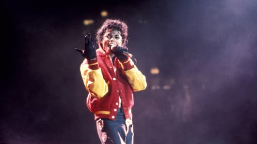 "Michael Jackson performing ""Thriller"" in 1988."