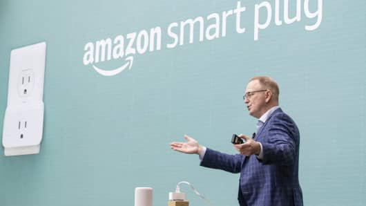 Dave Limp, Senior Vice President of Amazon Devices, introduces the 'smart plug' during an event at the Amazon Spheres, on September 20, 2018 in Seattle Washington.