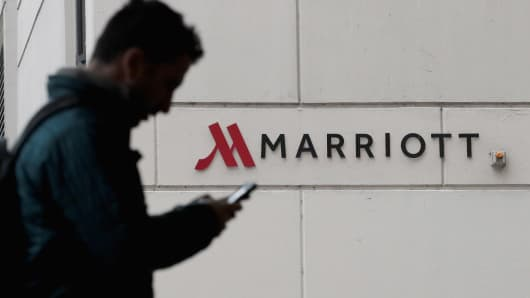 A sign marks the location of a Marriott hotel on November 30, 2018 in Chicago, Illinois.