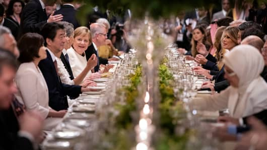 BUENOS AIRES, ARGENTINA - NOVEMBER 30: Germany's Chancellor Angela Merkel during the dinner for the participants and partners of the G20 Summit at the Colon Theatre in Buenos Aires, Argentina. (Photo by Guido Bergmann/Bundesregierung via Getty Images)