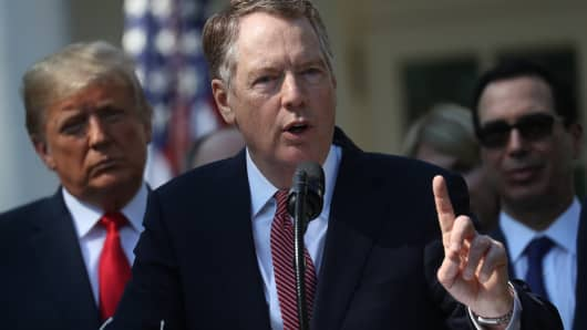 Robert Lighthizer, U.S. trade representative, speaks on the U.S.-Mexico-Canada Agreement, or USMCA, in the Rose Garden of the White House in Washington, D.C., U.S., on Monday, Oct. 1, 2018.