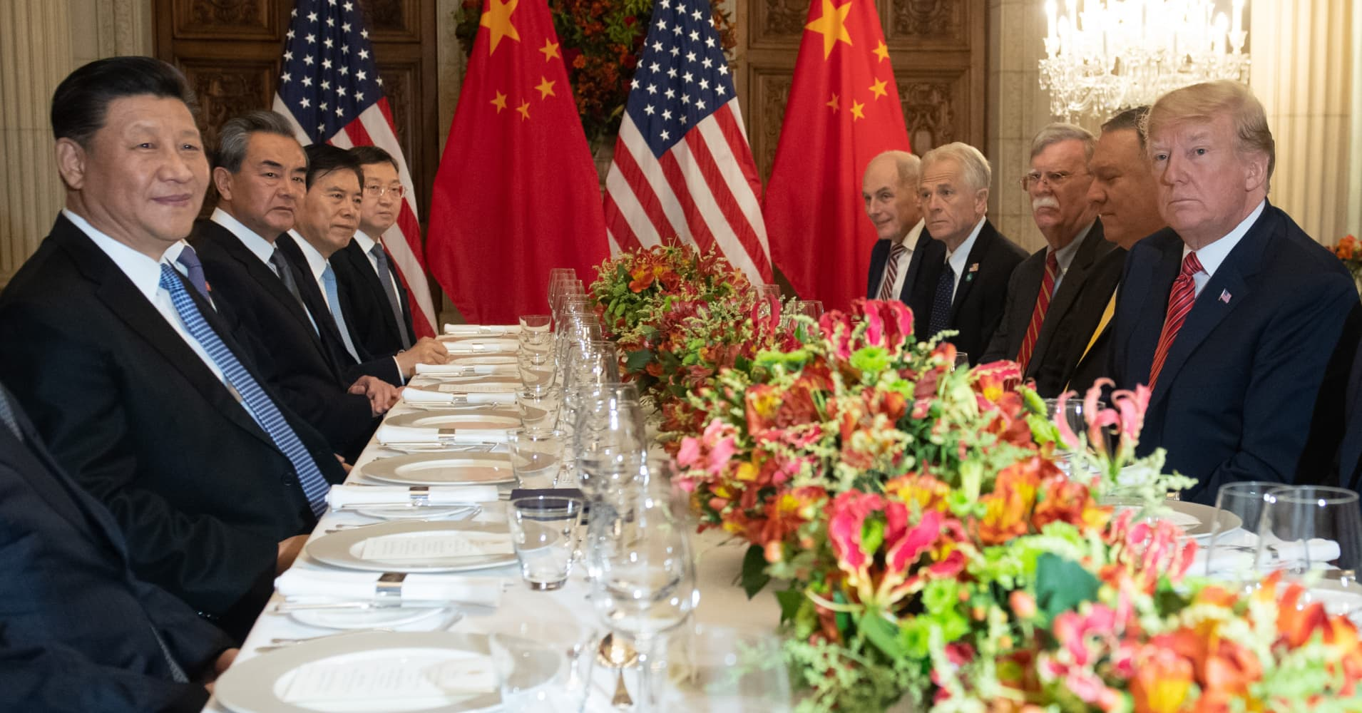 U.S. President Donald Trump, U.S. Secretary of State Mike Pompeo and members of their delegation hold a dinner meeting with Chinese President Xi Jinping, Chinese Foreign Affairs Minister Wang Yi and Chinese government representatives at the end of a G-20 summit in Buenos Aires, on Dec. 01, 2018.