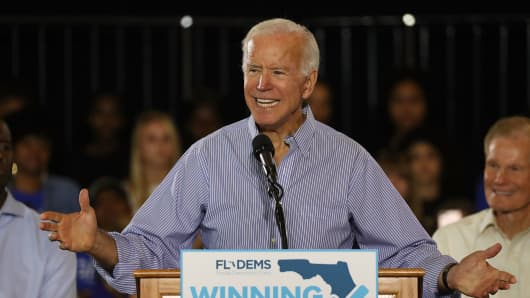 Former Vice President Joe Biden speaks during a campaign rally held at the University of South Florida Campus Recreation Building on October 22, 2018 in Tampa, Florida.
