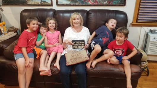 Sharon Cutler with her grandchildren.