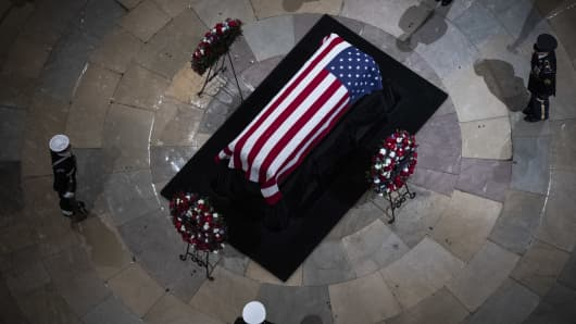 Former president George H.W. Bush lies in State at the U.S. Capitol Rotunda on Capitol Hill on Monday, Dec. 03, 2018 in Washington, DC.