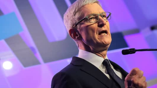Apple CEO Tim Cook speaks at the Anti-Defamation League's