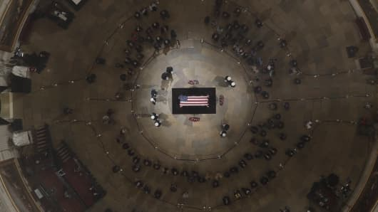The flag-draped casket of former President George H.W. Bush in the Capitol Rotunda on December 5, 2018.