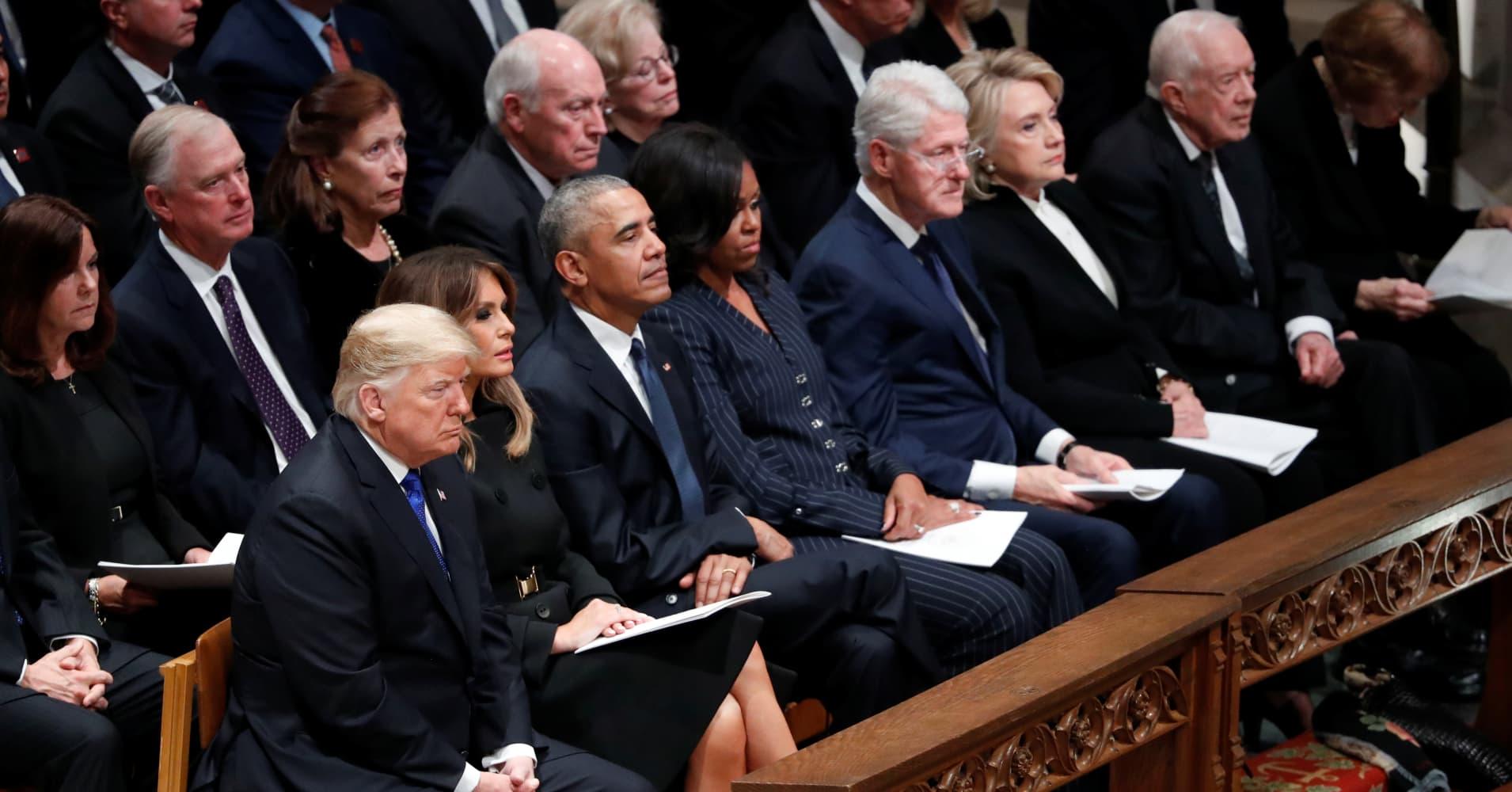 Ceremonies for George HW Bush draw together presidents, world envoys