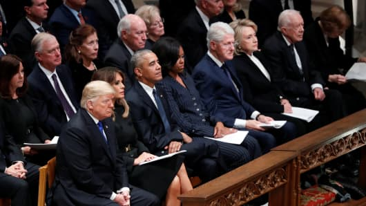 President Donald Trump with first lady Melania Trump, former President Barack Obama, former first lady Michelle Obama, former President Bill Clinton and former first lady Hillary Clinton, former President Jimmy Carter and first lady Rosalynn Carter at the state funeral for former U.S. President George H.W. Bush at the Washington National Cathedral in Washington.