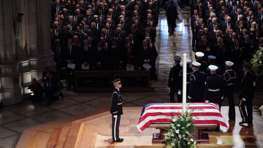 The casket is viewed during the funeral service for former US President George H. W. Bush at the National Cathedral in Washington, DC.