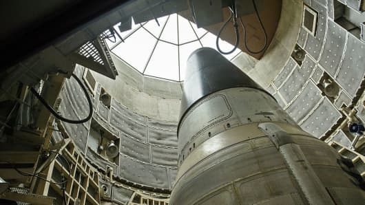 A deactivated Titan II nuclear ICMB is seen in a silo at the Titan Missile Museum on May 12, 2015 in Green Valley, Arizona.