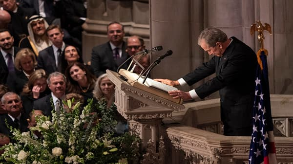 President George W Bush eulogizes his late father, President George H.W. Bush