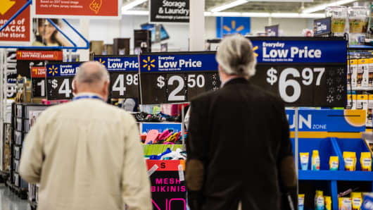 Customers shop at a Walmart store in Secaucus, New Jersey.