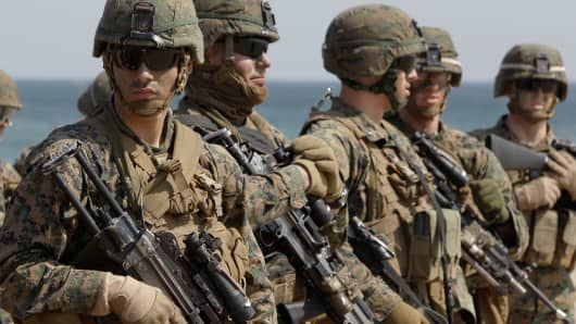 U.S. Marine soldiers from 31st Marine Expeditionary Unit, Battalion landing team deployed from Okinawa, Japan, participate in the U.S. and South Korean Marines joint landing operation at Pohang seashore on March 29, 2012 in Pohang, South Korea.