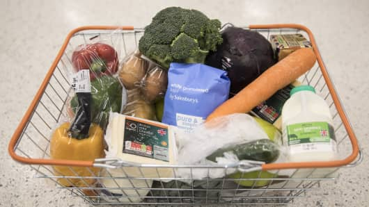 Fresh food items sit in a shopping basket.