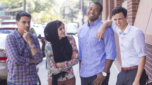 The founders of Cambridge, Mass.-based Wise Systems, from left, Ali Kamil, Layla Shaikley, Chazz Sims, Jemel Derbali.